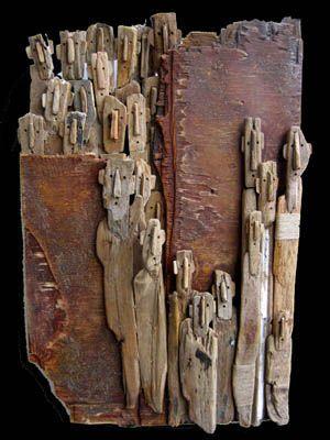 """Marc Bourlier - Driftwood :"""" Secret Passage"""", Driftwood, linen, twine. 67x44x5cm. 2006"""