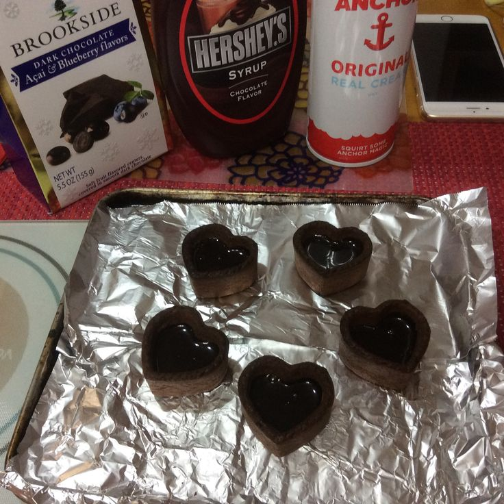 Heart choco on the making on Hearts' day 2015