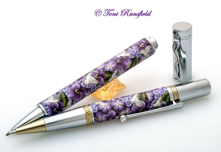 Pansies Polymer Clay Pen