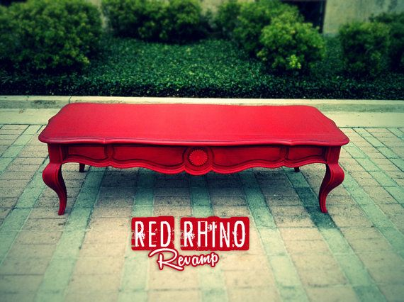 Lush Aged Red Coffee/Cocktail Table by RedRhinoRevamp on Etsy, $85.00