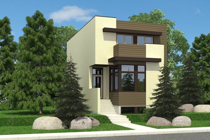 Borden - 1761 sq ft - 21' wide - This contemporary style two storey plan features flat canopies over the office as well as a second floor balcony. www.robinsonplans.com