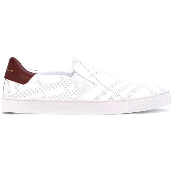 Burberry slip-on sneakers (350 CAD) ❤ liked on Polyvore featuring men's fashion, men's shoes, men's sneakers, white, burberry mens sneakers, mens leather slip on shoes, burberry mens shoes, mens woven leather slip-on shoes and mens leather shoes