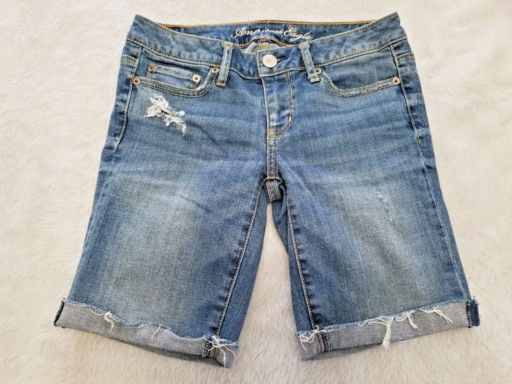 American Eagle Outfitters Womens Long Shorts Stretch Denim Distressed Raw Edge #AmericanEagleOutfitters #CasualShorts
