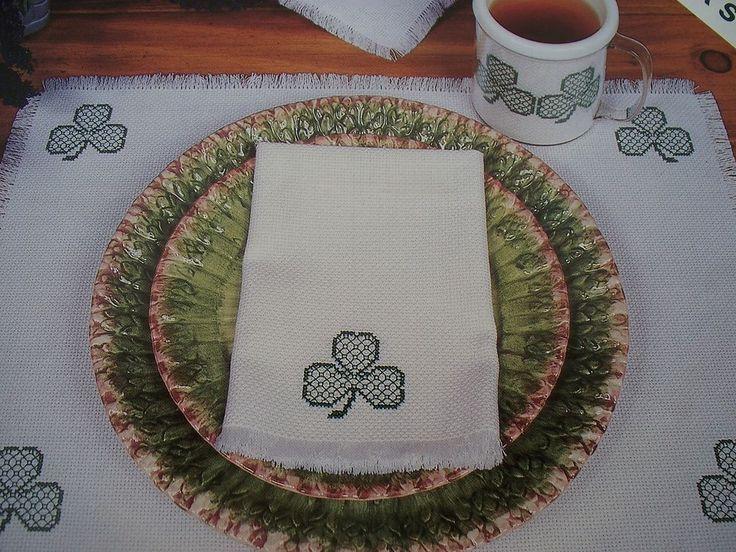 Shamrocks Table Linen Towel RIBBAND PatrickOOP Magazine Cross Stitch PATTERN (Y)
