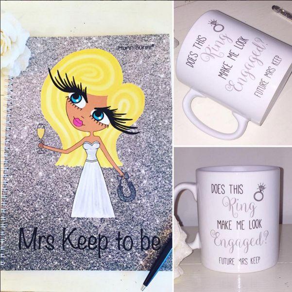 Personalised Notebook and Mugs.  Beautiful engagement gifts available from HunniBunni Boutique.  https://www.hunnibunniboutique.co.uk/catalog/gifts-accessories  #wedding #engaged #engagement #notebook #diary #stationery #personalised #bridetobe #mug #engagementring #marriage #hunnibunni #personalisedstationery #mrandmrs #weddingdress #blogger #lblogger #wblogger #weddingblog #summerwedding #weddingseason #bridesmaid #maidofhonour #goals #caricature #london #madeinlondon #etsy #glitter #💍