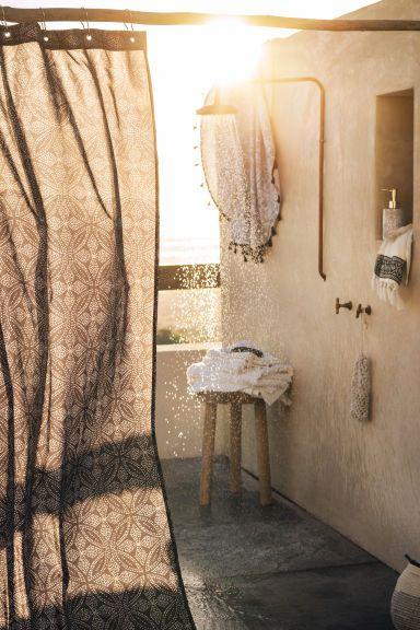 Okrągły ręcznik plażowy - Biały/Wzór - HOME | H&M PL
