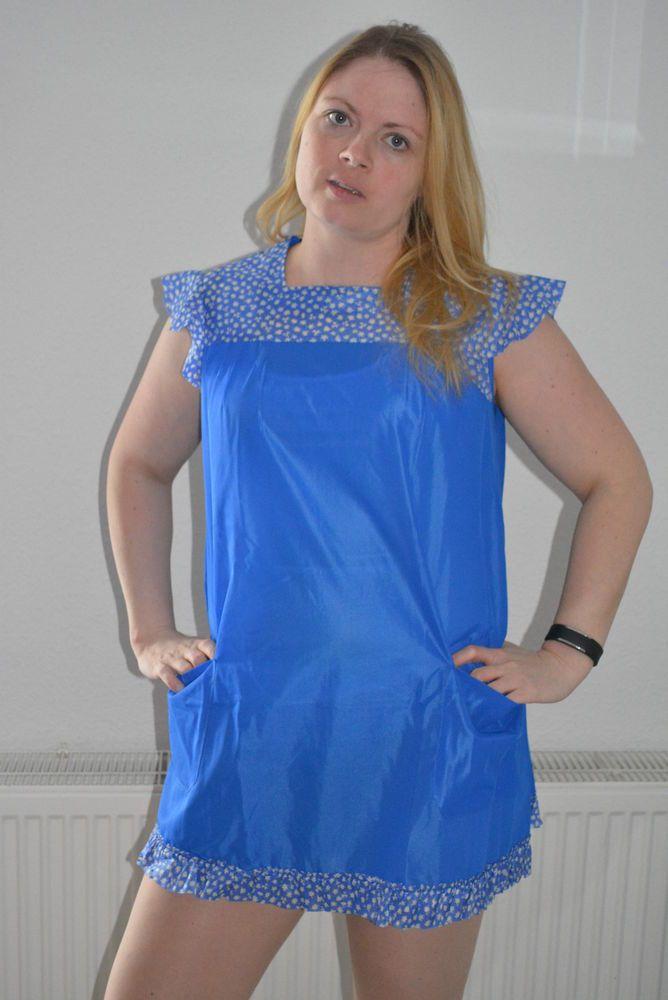 Vintage Dederon Kittel Schürze Kittelschürze transparent DDR Gr.42 RSK blau  | eBay