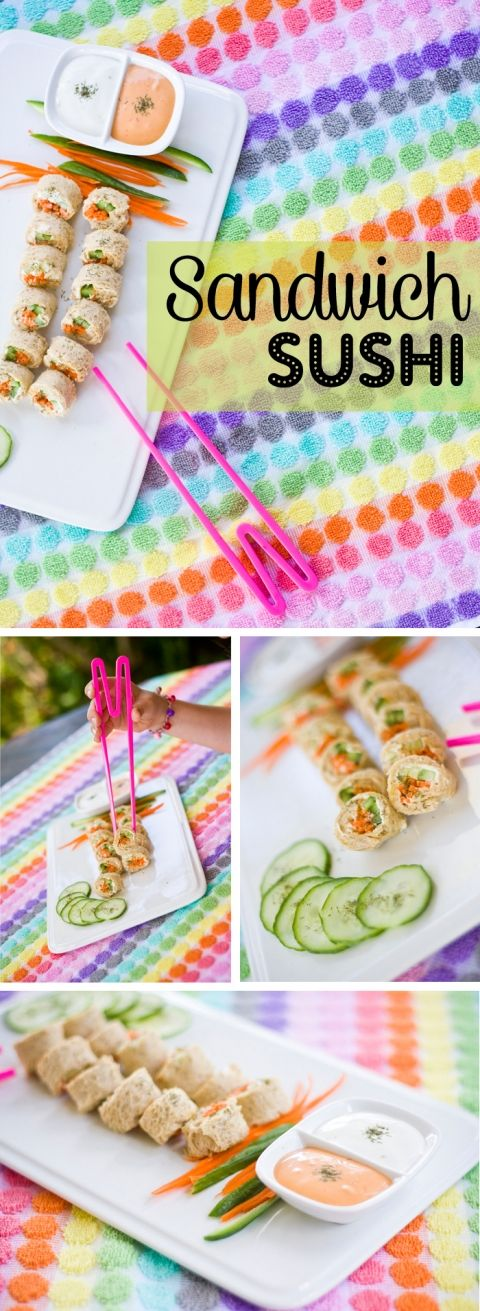 Sandwich Sushi for kids. I need these cheater chopsticks for the kids too