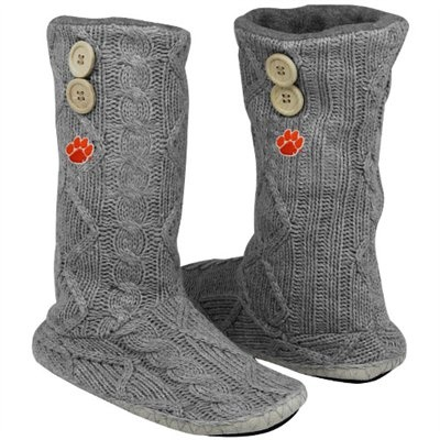 Clemson Tigers Women's Two-Button Cable Knit Boots - Gray