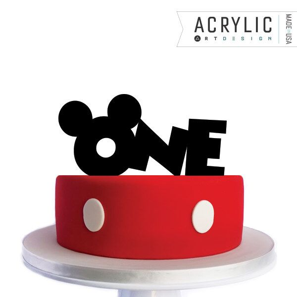 Mickey Mouse Birthday Cake Topper  - ONE  Mickey Ears -  Disney Inspired - Mickey Mouse by Acrylic Art Design by AcrylicArtDesign on Etsy https://www.etsy.com/listing/483007159/mickey-mouse-birthday-cake-topper-one