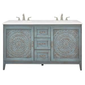 Home Decorators Collection Chennai 61 in. W Engineered Stone Vanity Double Top in Crystal White with Blue Wash Basin 9945400340 at The Home Depot - Mobile