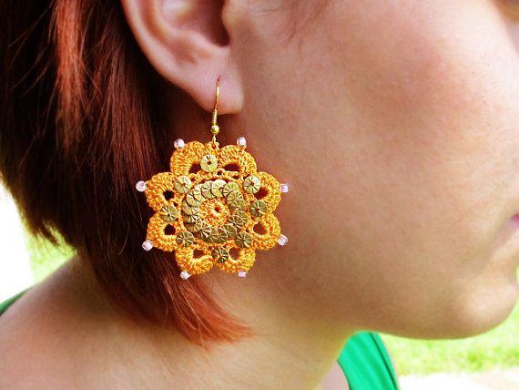 Orange Crochet Earrings Floral Rope Jewelry by GlassHouseLampwork
