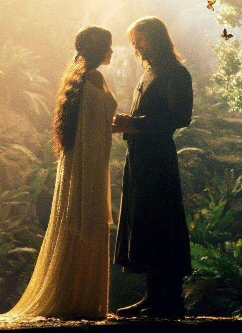 "Arwen - ""Do you remember when we first met?""  Aragorn - ""I thought I had wandered into a dream."""