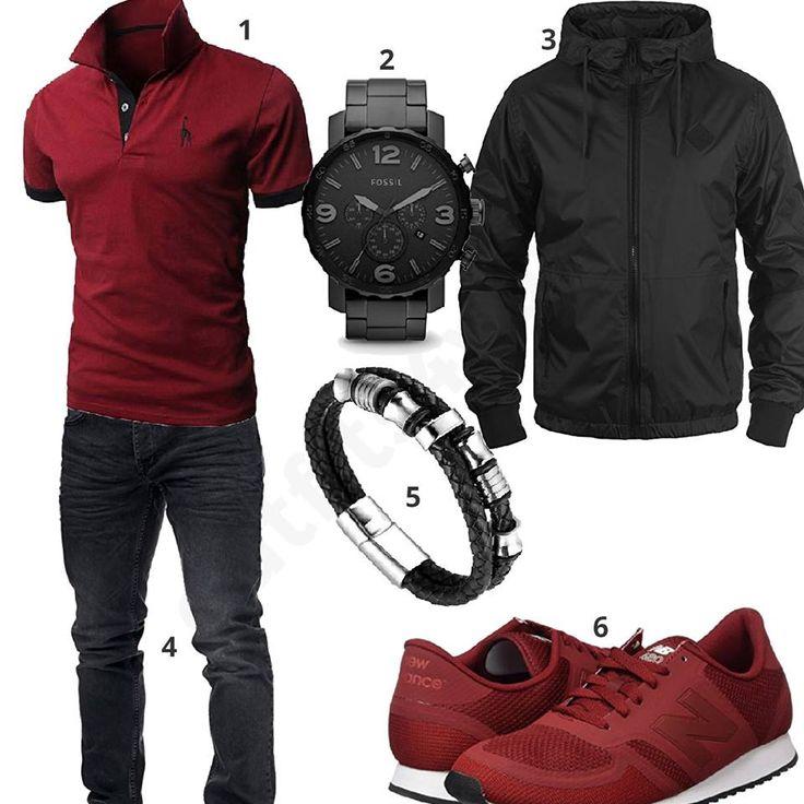 Dunkelrot-Schwarzes Herren-Outfit mit Windbreaker (m0524) #herrenoutfit #ootd #männer #herren #outfit2017 #outfit #style #fashion #menswear #mensfashion #inspiration #shirt #cloth #clothing #styling #sneaker #menstyle #inspiration