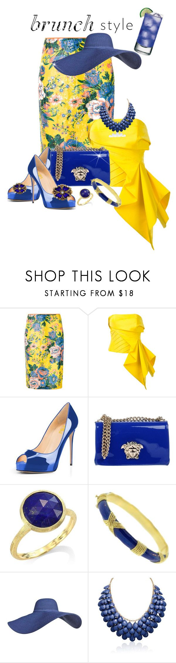 """Sunny Yellow"" by shamrockclover ❤ liked on Polyvore featuring Diane Von Furstenberg, Rubin Singer, Versace, Marco Bicego, Cartier and Adoriana"