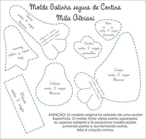 Feltro Fácil: Prendedor de Cortina de Galinha molde 2