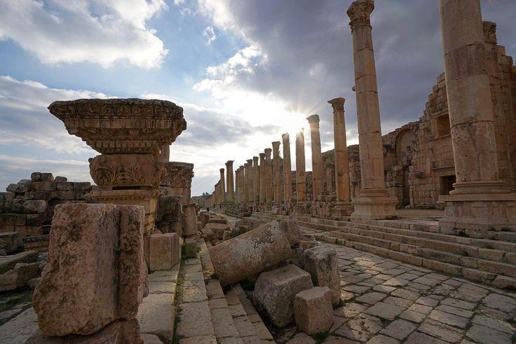 Cardo (Main N-S street in a Roman city) in Jerash Jordan