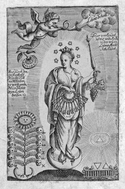 Alchemie, erinnert an die Frau der Apokalypse, aber die hat einen Kranz von 12 Sternen. Die 7 Sterne beziehen sich wohl auf die sieben Planeten oder auf die Symbolik der sieben Sterne an der Rechten Gottes (Offenb. Joh. 1, 16), bezogen auf die sieben Geister Gottes oder auf die sieben Gaben des heiligen Geistes. Ursprünglich hat es wohl mit den 7 Plejaden zu tun, den Töchtern des Atlas.