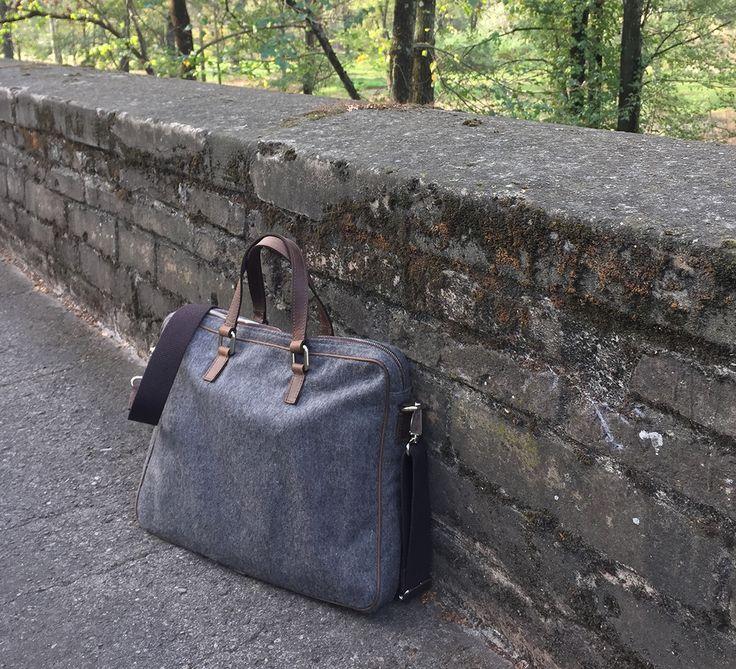 Stresa Porta PC - Wool and Leather Laptop Carrier - #madeinitaly #handmade #fattoinitalia