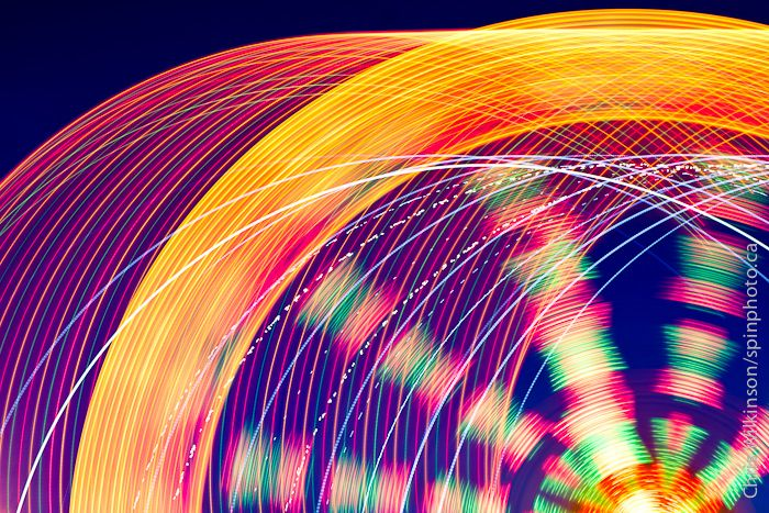 Light trails from a fair ground ride at Old Home Week in Charlottetown, Prince…