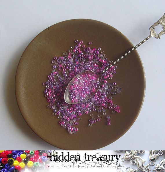 Pink and Purple Seed Beads 30g. Great for small by HTCandyBeads, $2.00