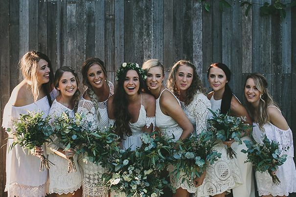 Jessie and her tribe of beauties with natural wedding makeup.