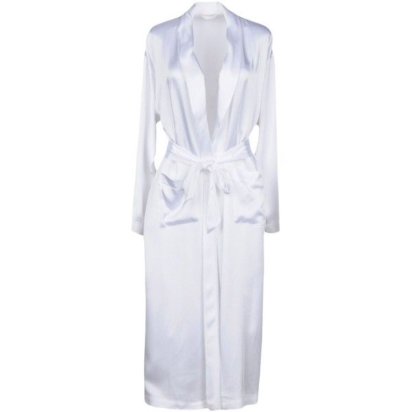 Carla G. Dressing Gown ($220) ❤ liked on Polyvore featuring intimates, robes, white, white dressing gown, dressing gown, white bath robe, white bathrobe and bath robes