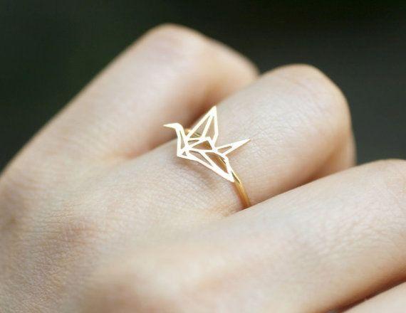 Cutest origami crane ring! So simple and elegant.