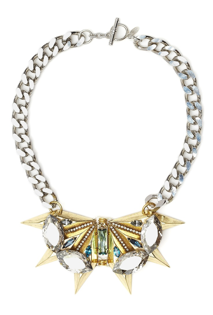 Gold Spike And Crystal Chain Necklace by Anton Heunis at MyWardrobe £ 270  The ultimate statement necklace - love Anton Heunis' new pieces on My Wardrobe. Wear with anything to give it a cool twist - great occasion piece but works with daywear too. A printed skirt and simple vest.