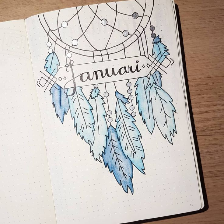 Bullet journal monthly cover page, dreamcatcher drawing, feather drawings, January cover page. | @isoldeineveryway