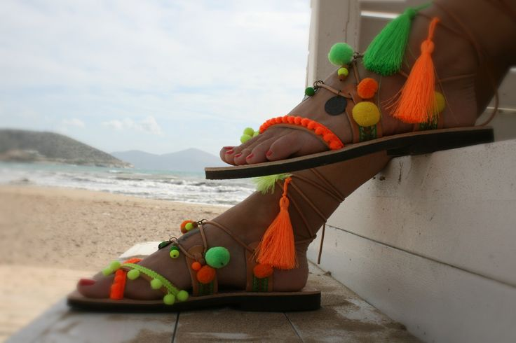This is Andros , Fluo Boho Chic handmade leather sandal