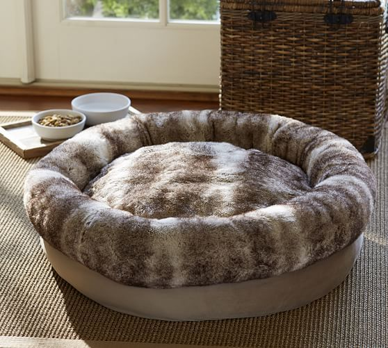 Faux Fur Bolster Dog Bed