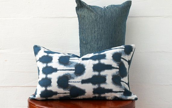 Navy Outdoor Pillow Cover Blue and white  Pillow Decorative