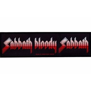 """Official licensed sew on Black Sabbath strip patch. Size measures 18.5cm (7.25"""") x 5cm (2"""") , perfect for your jackets, jeans, shirts, bags etc"""