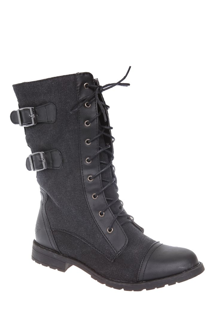 Black Force Combat Boot | Hot Topic  Possibility for Dauntless outfit!