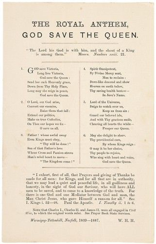 [HENSLOWE, William Henry] The Royal Anthem. God Save the Queen.  Norfolk. Wermigey-Tottenhill. 1887. #troopingthecolour
