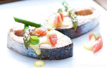 Sea Trout, Asparagus & Pink Grapefruit Sabayon - Great British Chefs