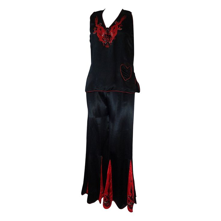 "1930s Red and Black Silk ""Shanghai"" Style Pajama Set w/ Dragon Embroidery 