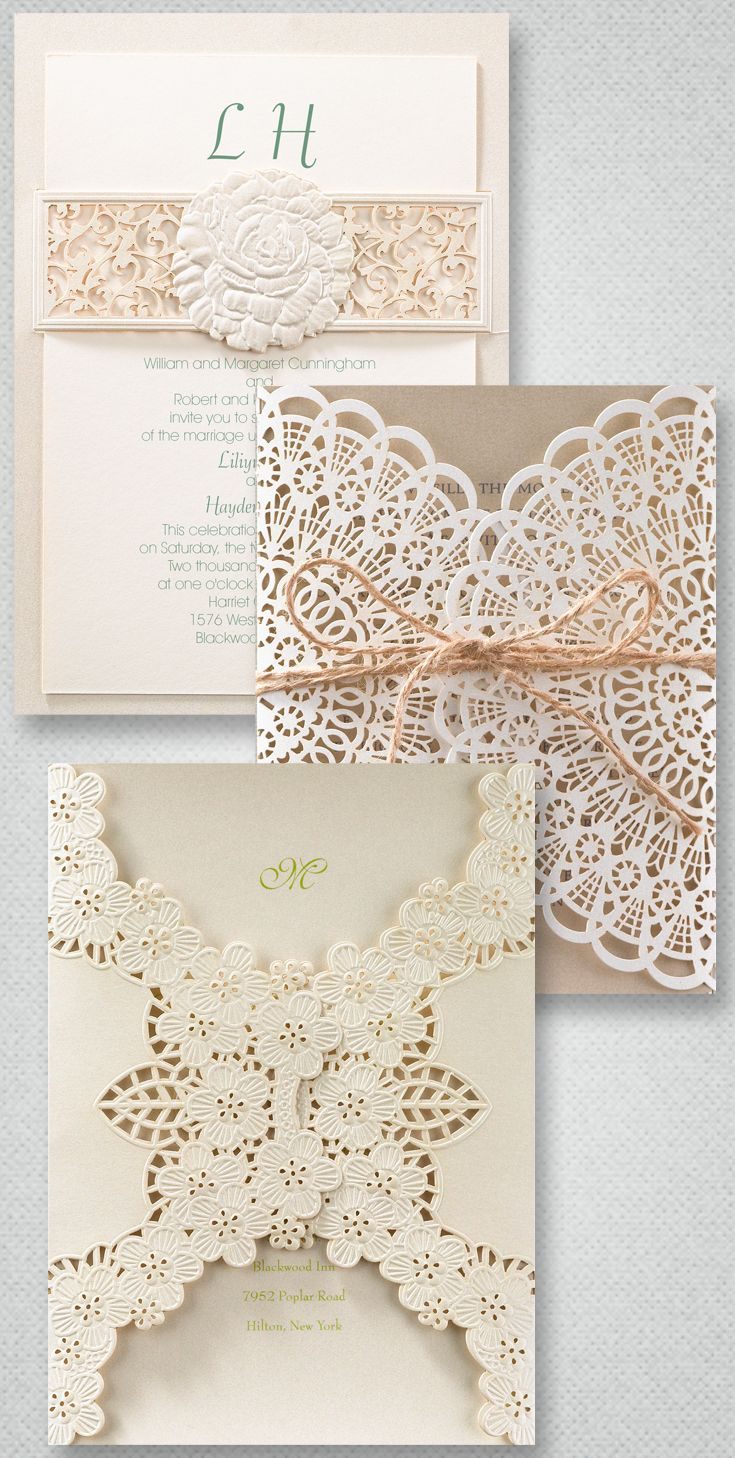 The most elegant trend in wedding invitations: Laser cut. Intricate detail and precise cuts make these invitations the prettiest around. From Invitations by Dawn.