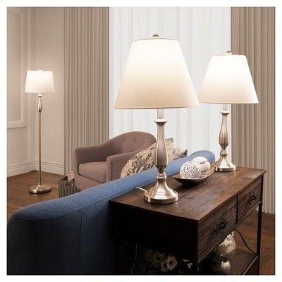 Table Lamps and Floor Lamp Traditional Set of 3 (3 Led bulbs included) Brushed Steel - Yorkshire Home, Brushed Nickel