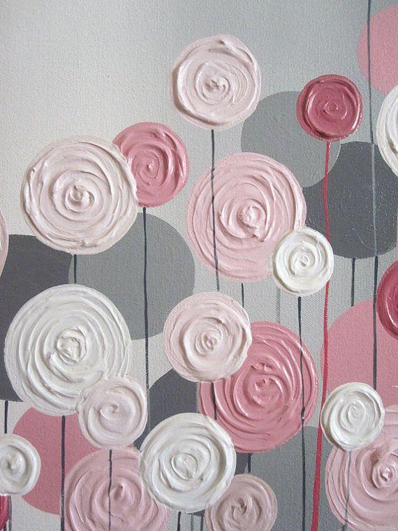Rosa y gris con textura flor vivero arte Original pintura