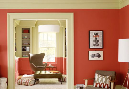 Red Orange And Gray Brown Room From Benjamin Moore