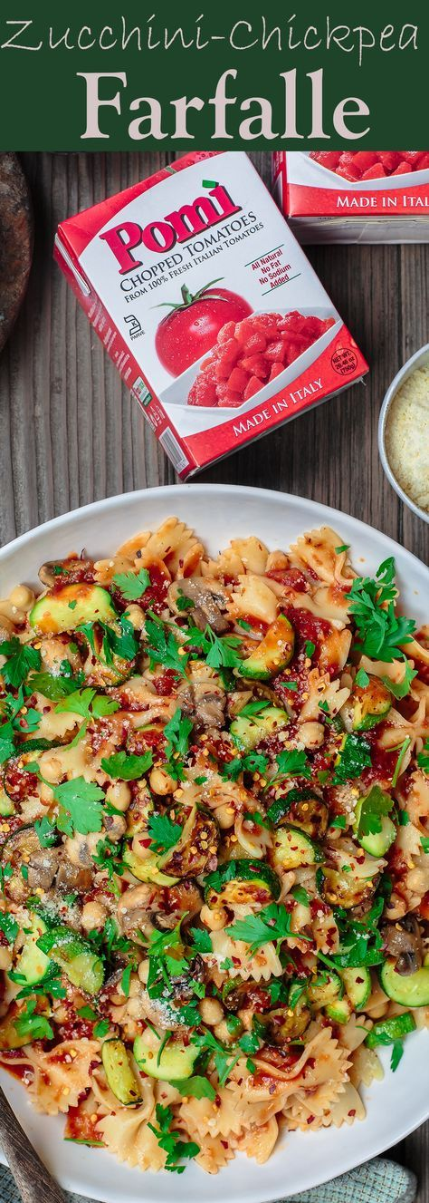 Zucchini Chickpea Farfalle Pasta Recipe. My new go-to weeknight dinner! Easy, flavor-packed, vegetarian pasta dinner with Mediterranean spices and tossed in an amazing Italian pasta sauce. A must-try!