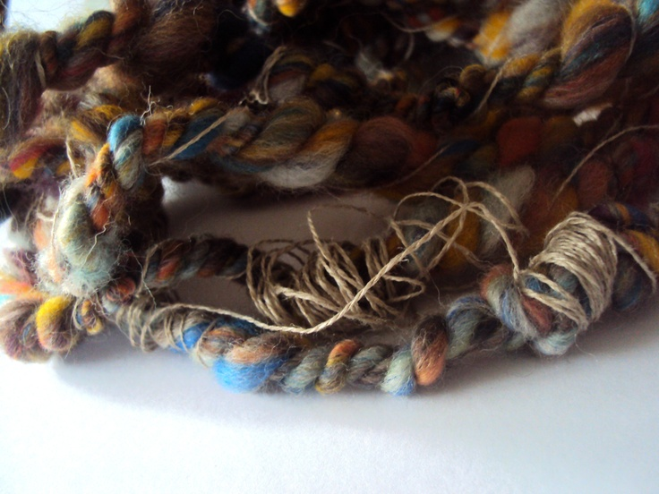 three ply wool and linen #artyarn #handspun