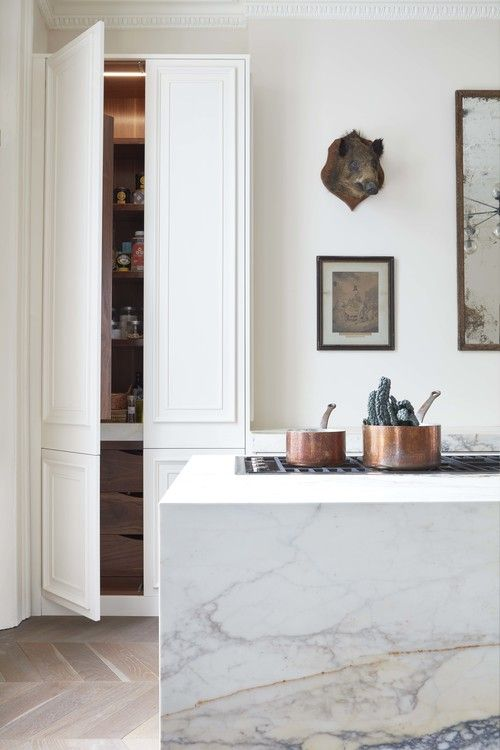 Marble sided island | could use the marble-look laminate from IKEA