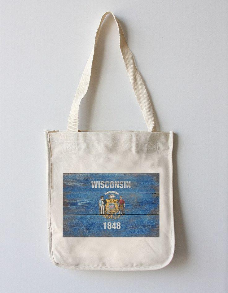 Tote Bag (Wisconsin Flag - Barnwood Painting - Lantern Press Artwork)