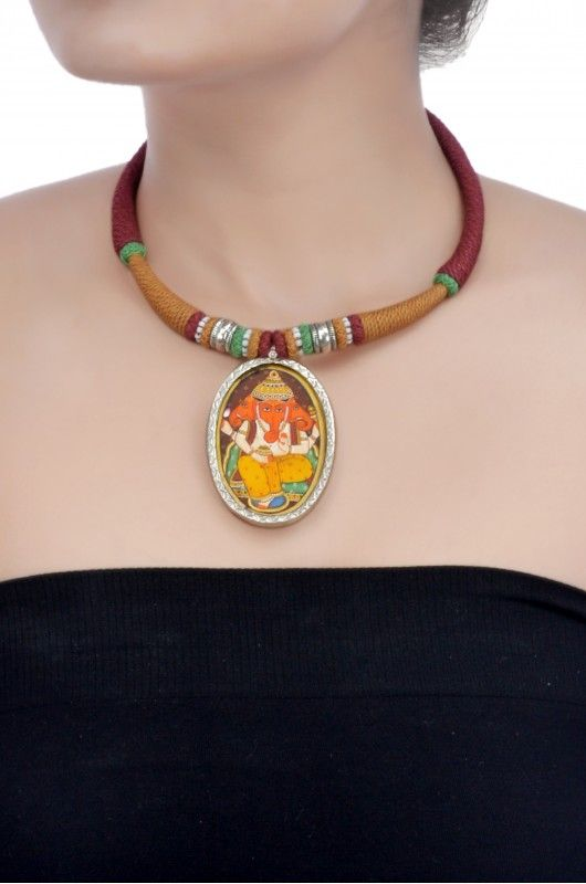 Amrapali: Silver hand-painted ganapati thread necklace
