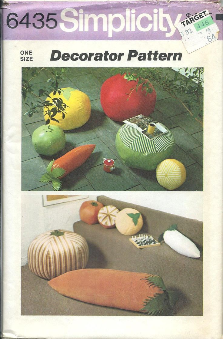 Simplicity 6435 Fruit & Vegetable Floor Pillows Or Hassocks And Throw Pillows, UNCUT by DawnsDesignBoutique on Etsy
