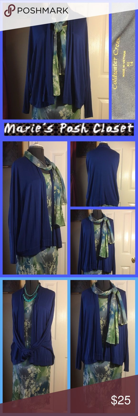 Royal Blue Cardigan Lovely shade of blue Chico's long sleeve, drape front sweater. EUC. No pilling. Coldwater Creek Sweaters Cardigans