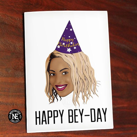 Happy Bey Day Beyonce Greeting Card Happy by NostalgiaCollect